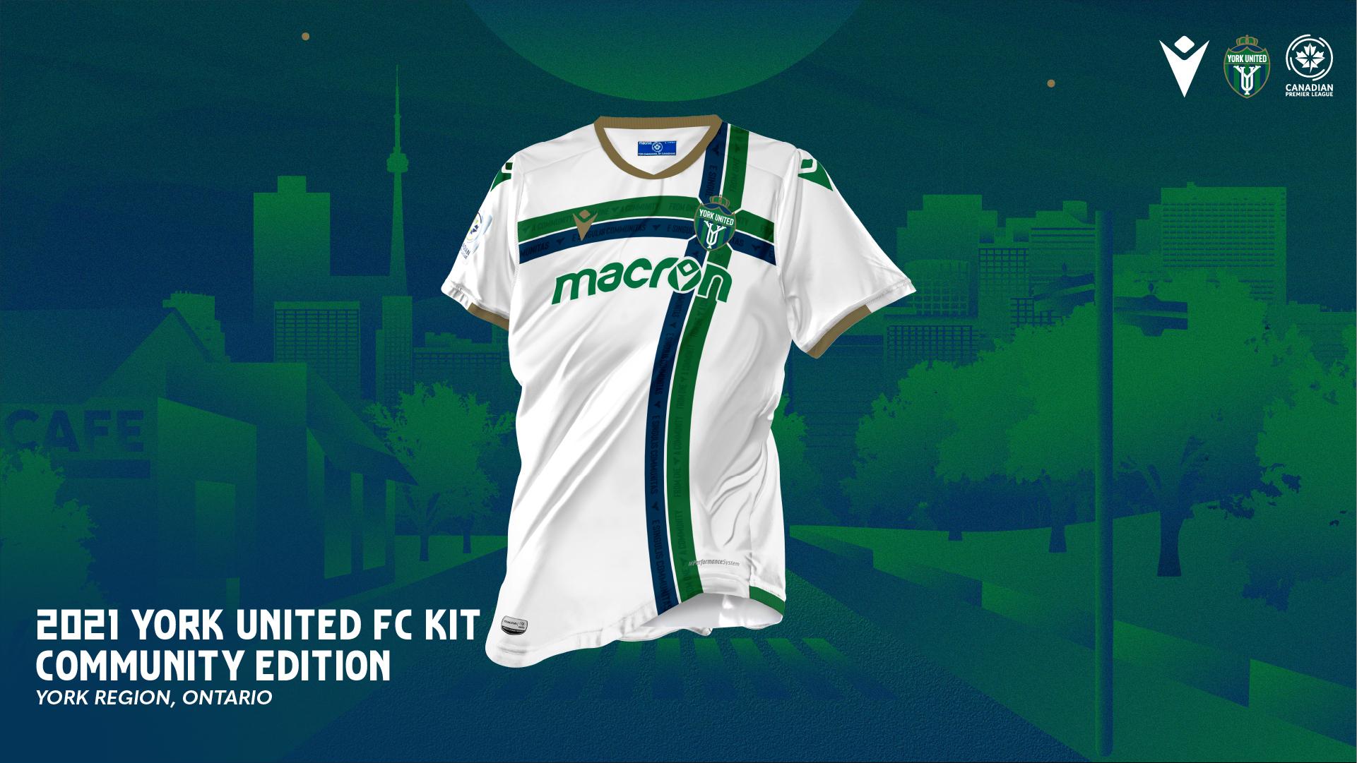 "York United's 2021 ""Community"" kit, produced by Macron."