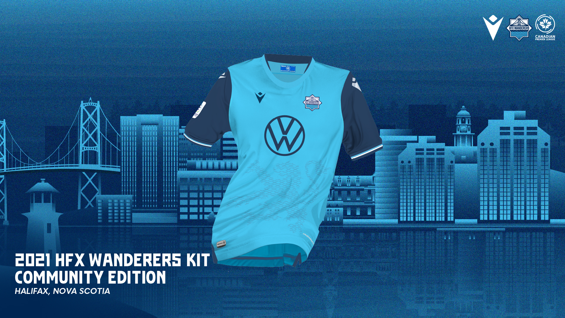 """HFX Wanderers FC's 2021 """"Community"""" kit, produced by Macron."""
