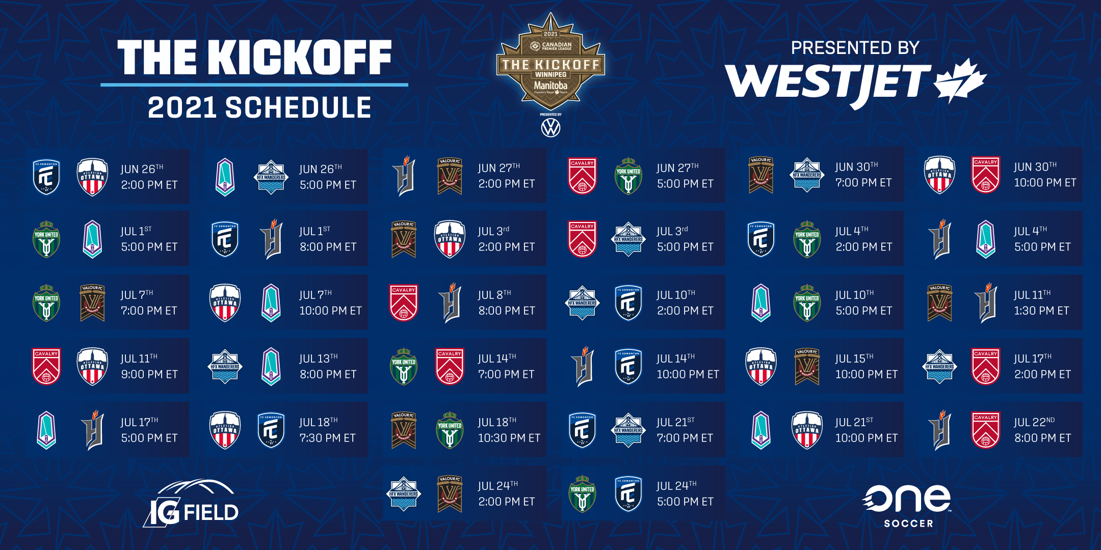The Kickoff 2021 Schedule presented by WestJet.