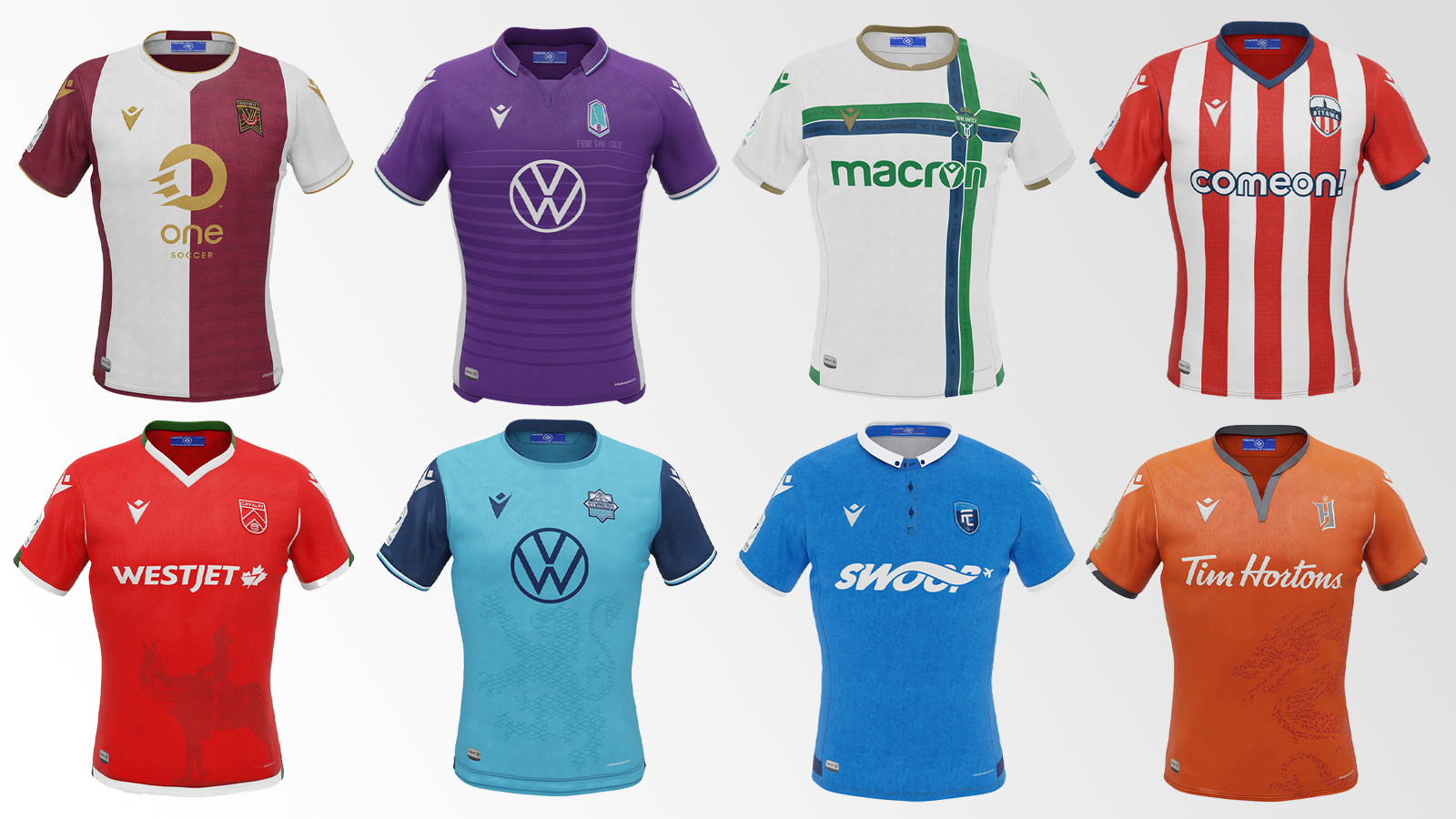 """2021 CPL """"Community"""" kits produced by Macron (from top left to bottom right): Valour FC, Pacific FC, York United, Atlético Ottawa, Cavalry FC, HFX Wanderers, FC Edmonton, Forge FC"""
