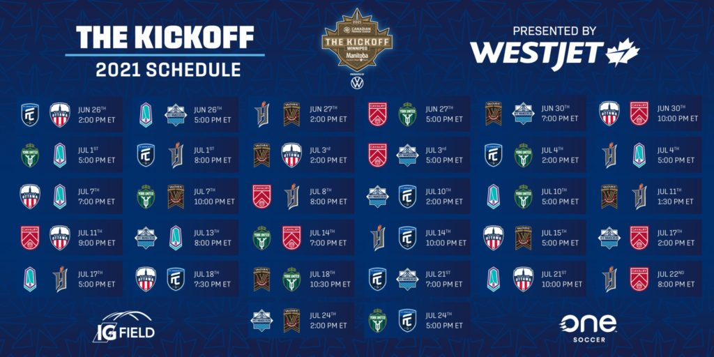 The 2021 CPL Kickoff schedule, presented by WestJet.
