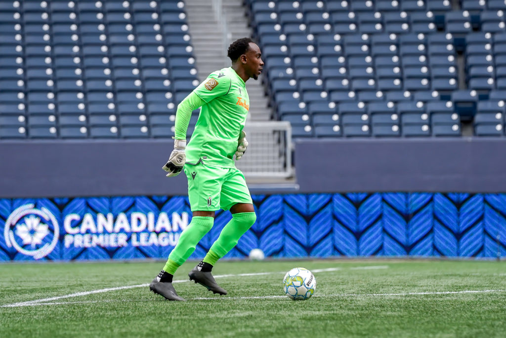 First-Half. Goalkeeper Triston Henry plays the ball (Photo: Canadian Premier League / Robert Reyes/William Ludwick)