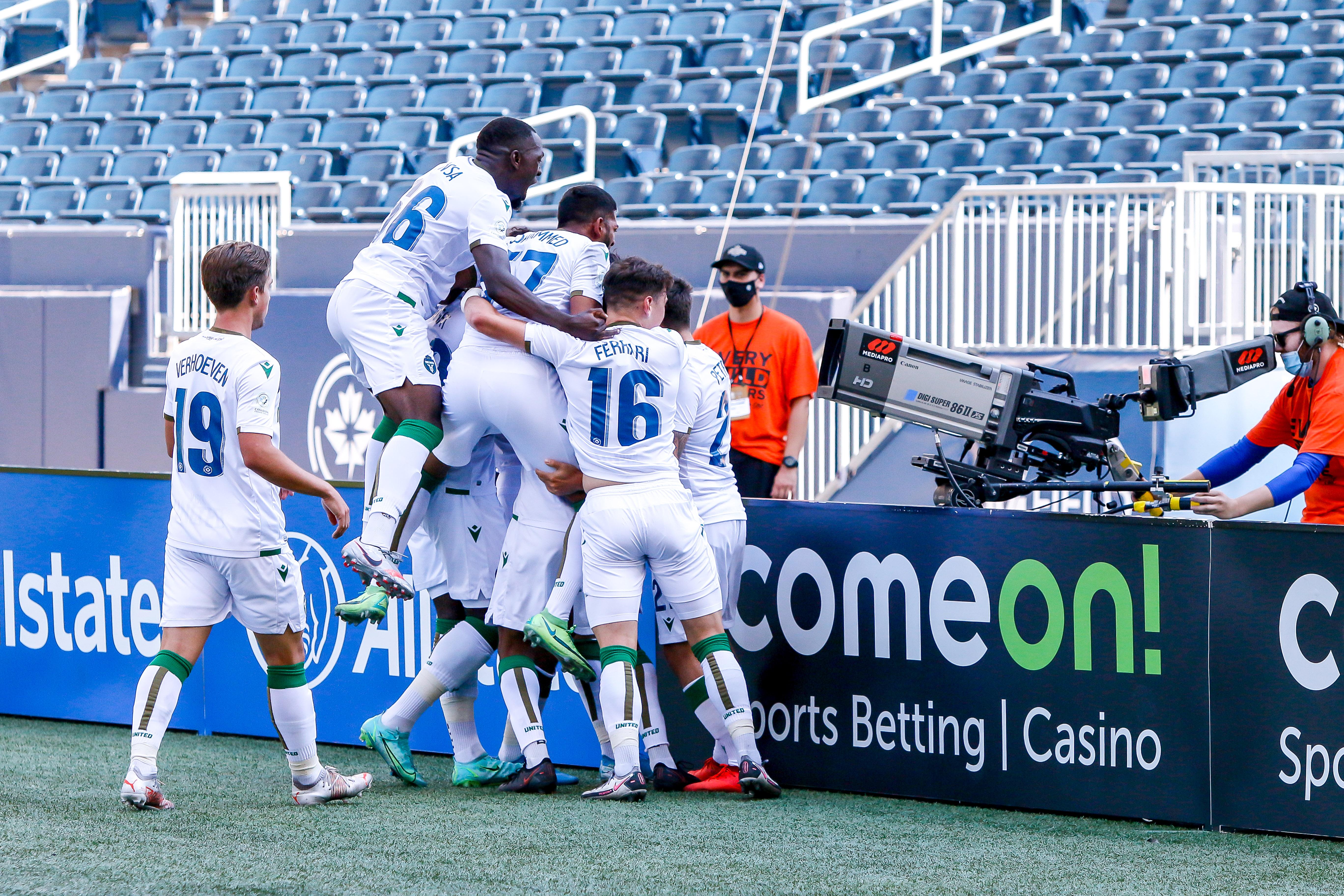 York United FC players celebrate a first-half goal by Diyaeddine Abzi. (CPL)