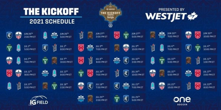 The 2021 CPL Kickoff schedule presented by WestJet.