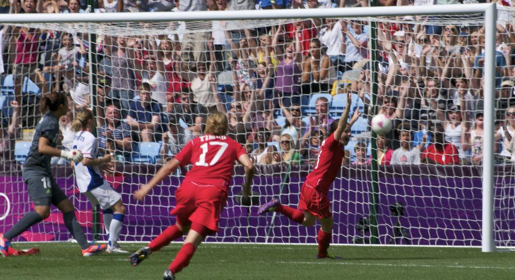Diana Matheson celebrates her winning goal in the London 2012 bronze medal match (Photo: Canada Soccer/ Les Jones)