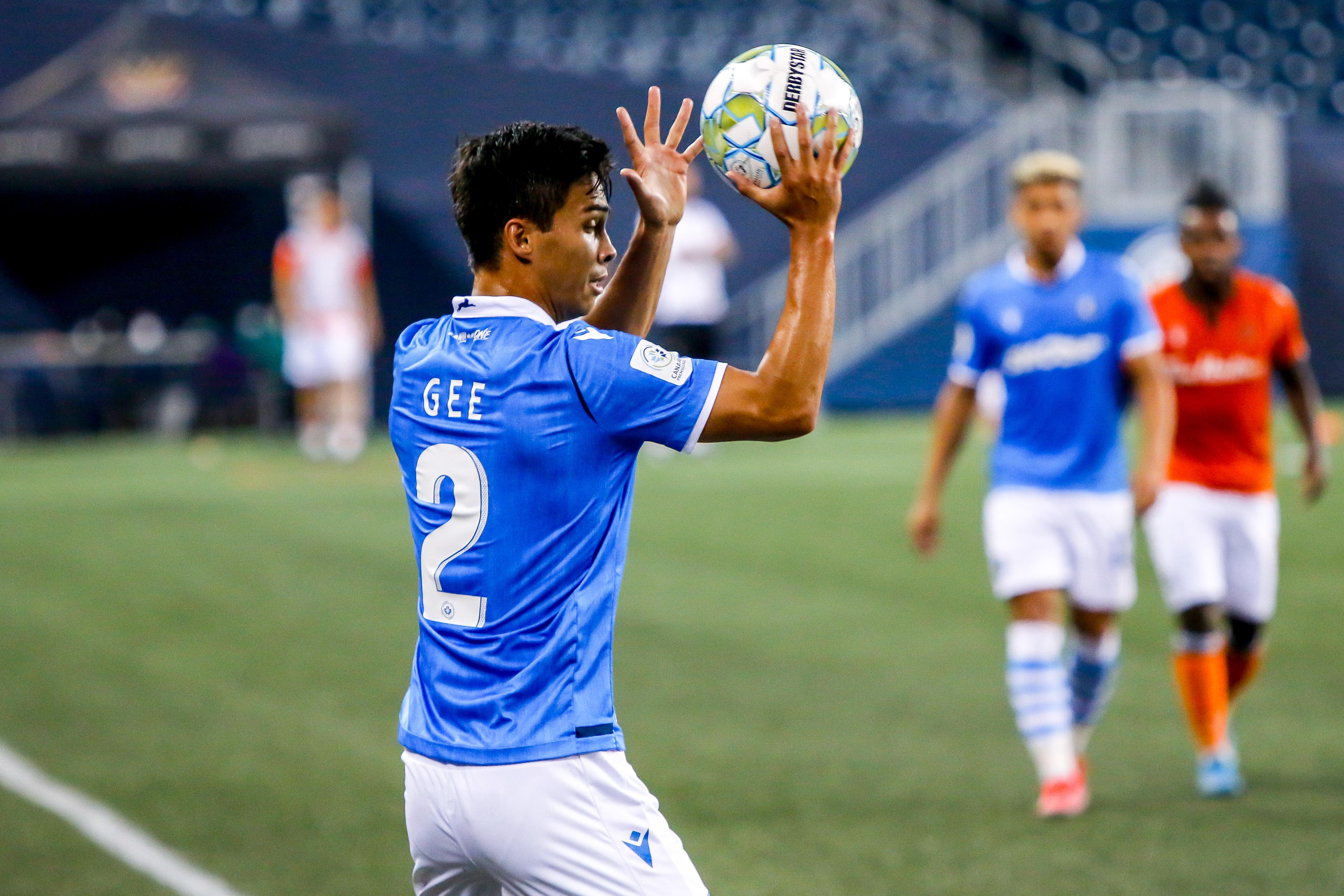 July 14, 2021. Forge FC vs FC Edmonton. First-Half. Paris Gee of FC Edmonton gets set to throw the ball into play.