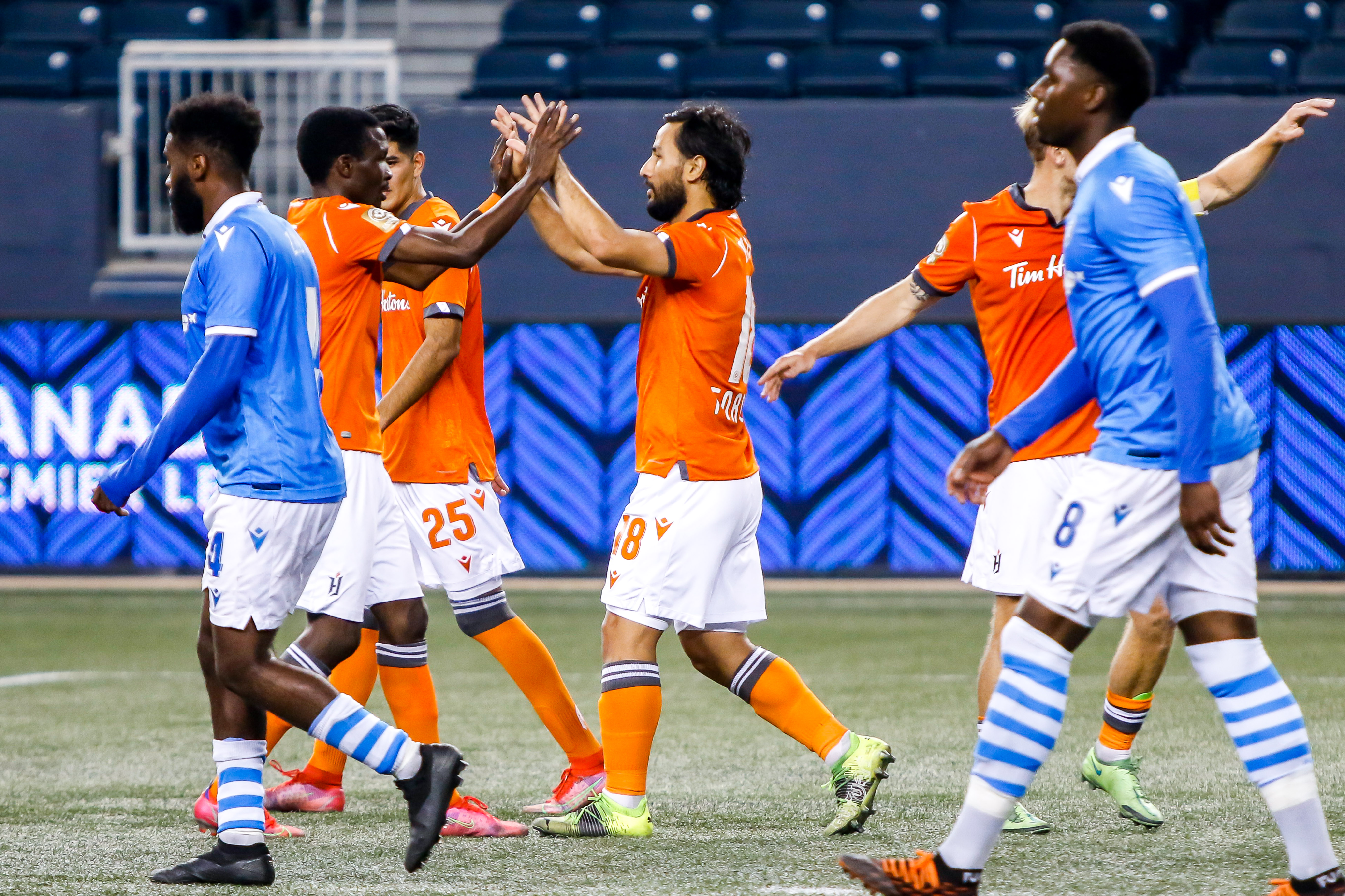 July 14, 2021. Forge FC vs FC Edmonton. First-Half. Molham Babouli of Forge FC celebrates his first half goal.