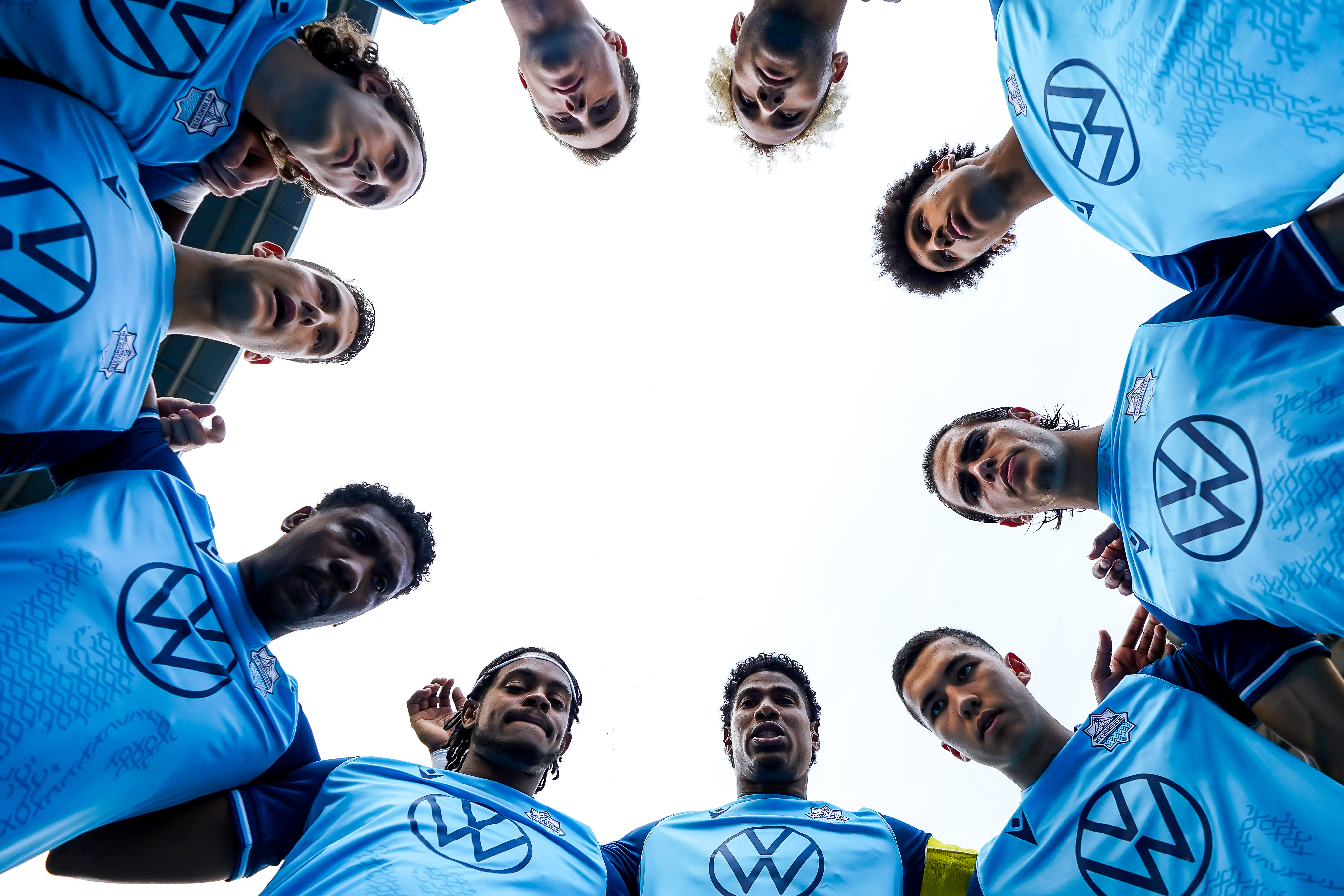 July 17, 2021. HFX Wanderers FC vs Cavalry FC. Pre-Game. HFX Wanderers FC huddle up prior to the start of the match.