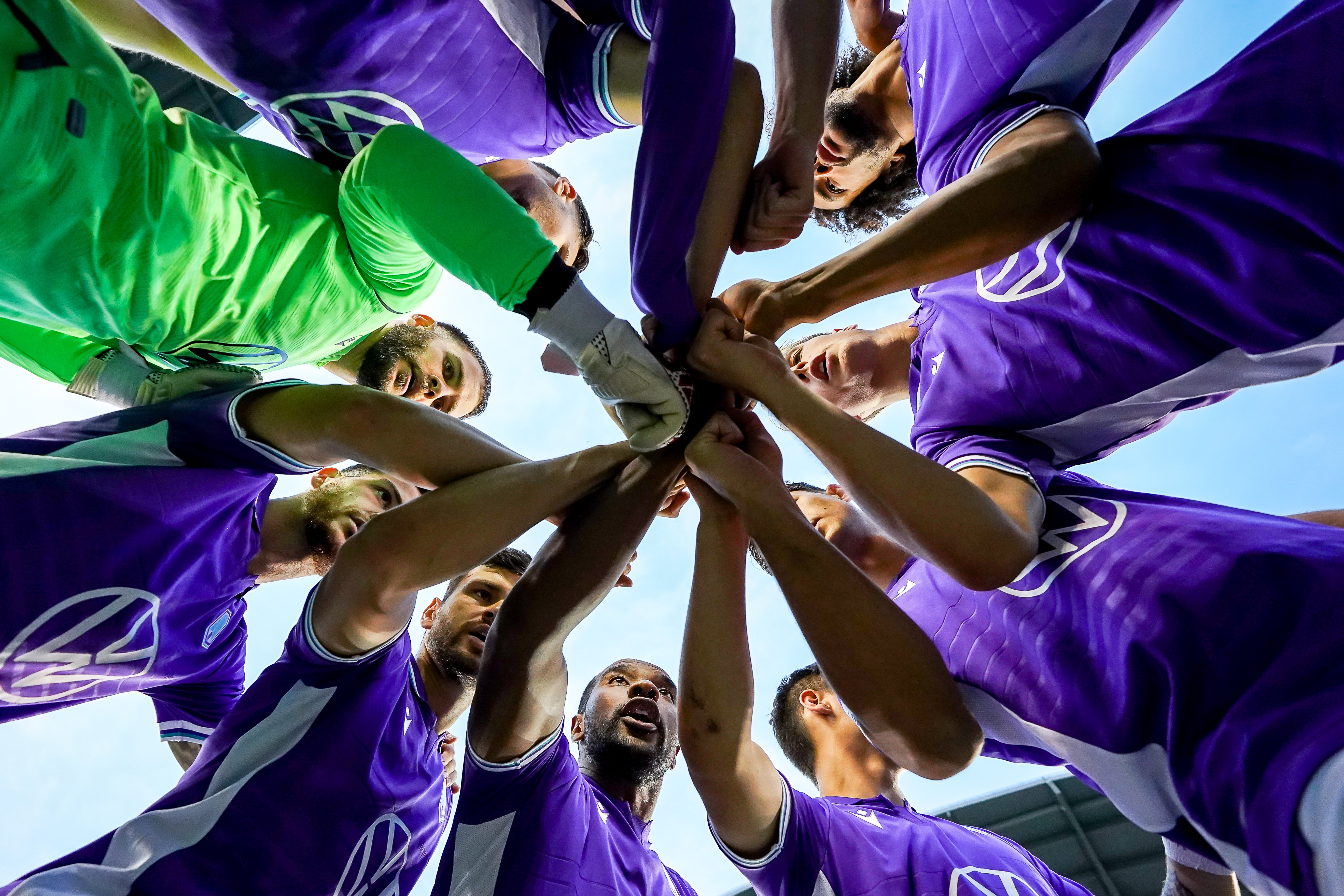 July 17, 2021. Pacific FC vs Forge FC. Pre-Game. Pacific FC players go all hands in during the team huddle.