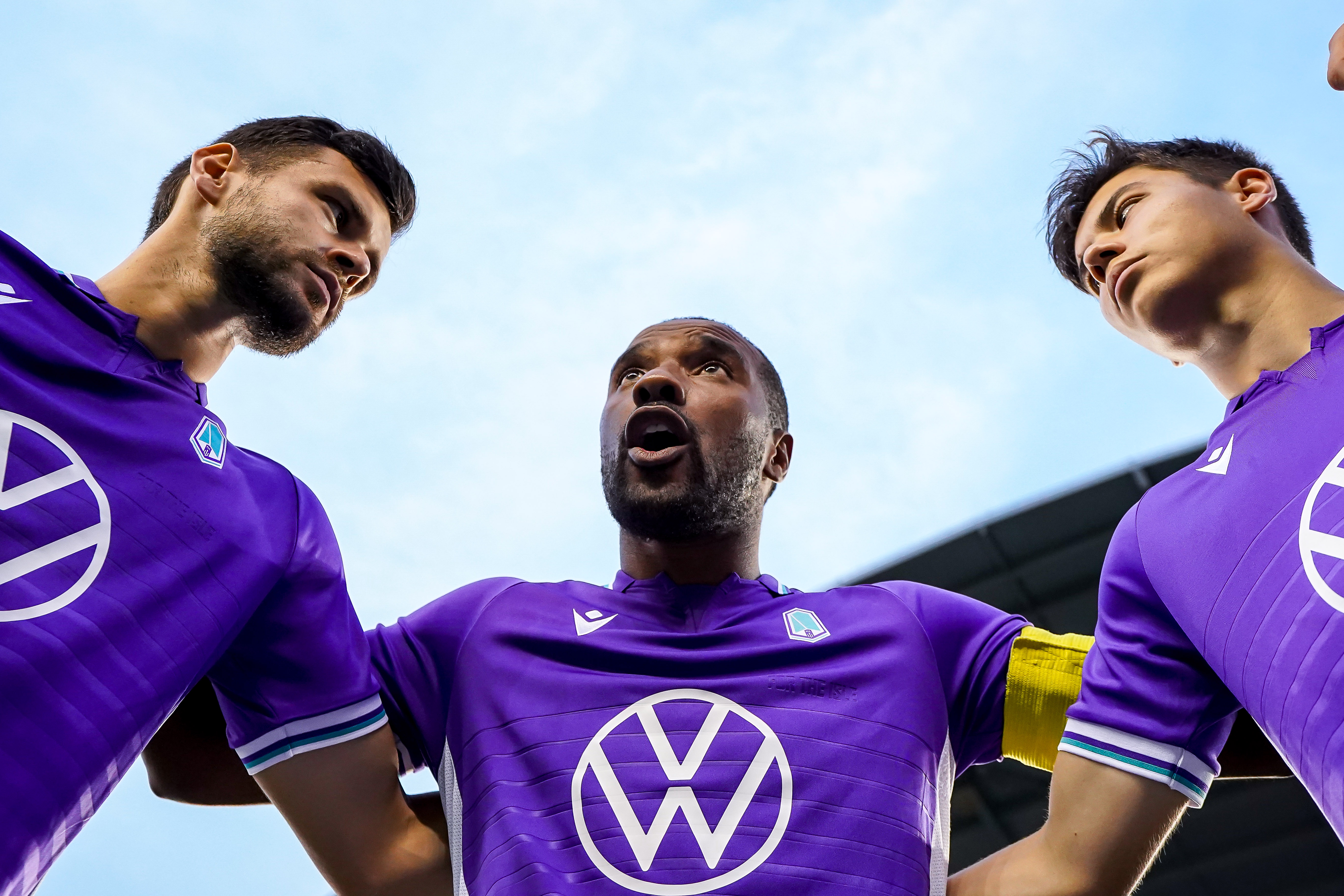 July 17, 2021. Pacific FC vs Forge FC. Pre-Game. Jamar Dixon of Pacific FC leads the team huddle.