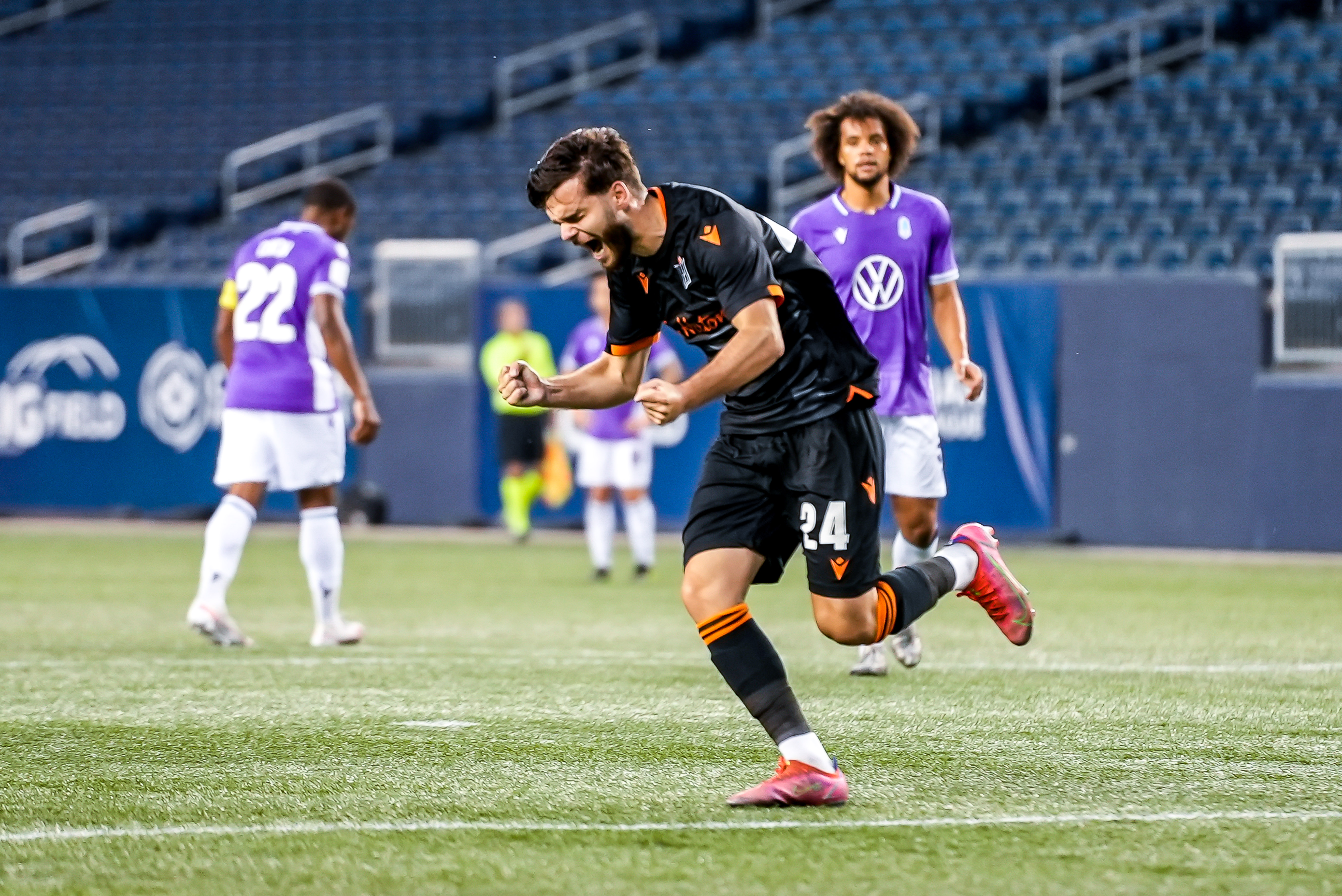 July 17, 2021. Pacific FC vs Forge FC. First-Half. Paolo Sabak of Forge FC celebrates as he successfully converts on a penalty kick.