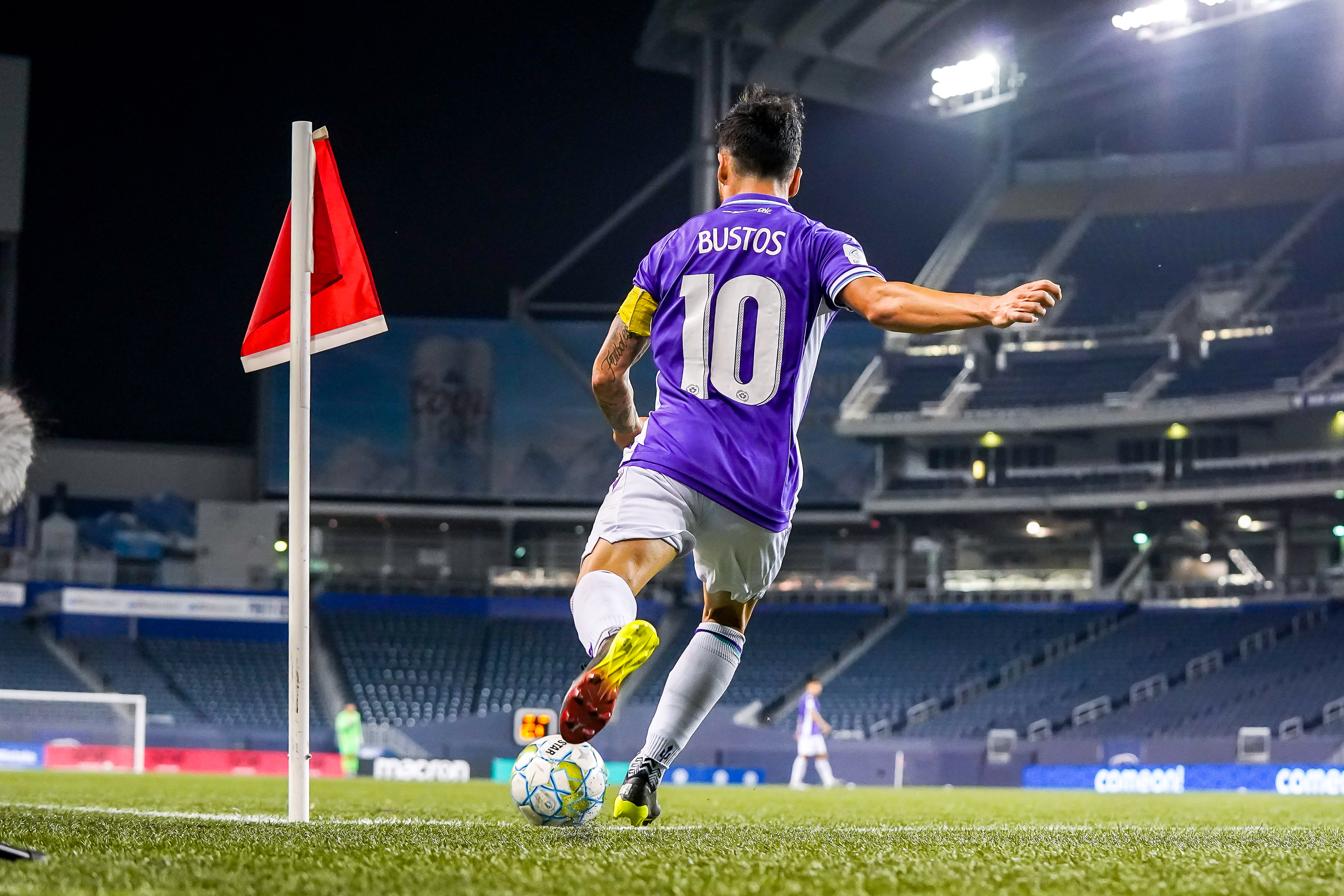 July 17, 2021. Pacific FC vs Forge FC. Second-Half. Marco Bustos of Pacific FC takes a corner kick.