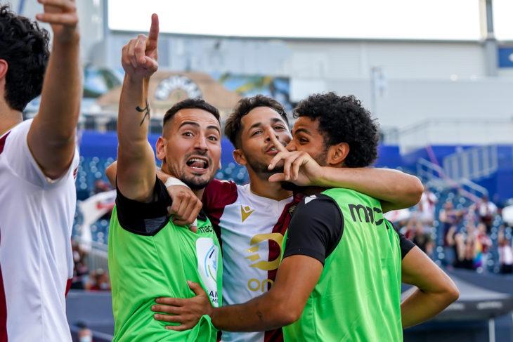 July 18, 2021. Valour FC vs York United FC. First-Half. Austin Ricci of Valour FC celebrates his goal with Masta Kacher and Federico Peña.