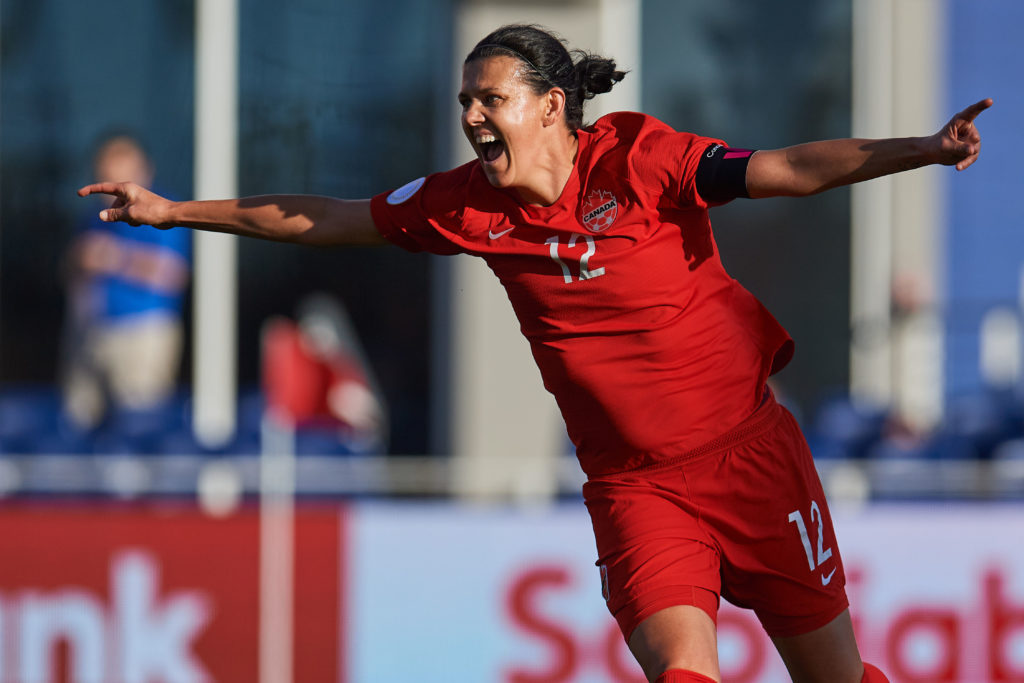 Christine Sinclair celebrates breaking the all-time international goalscoring record (Photo: Canada Soccer by Mexsport)