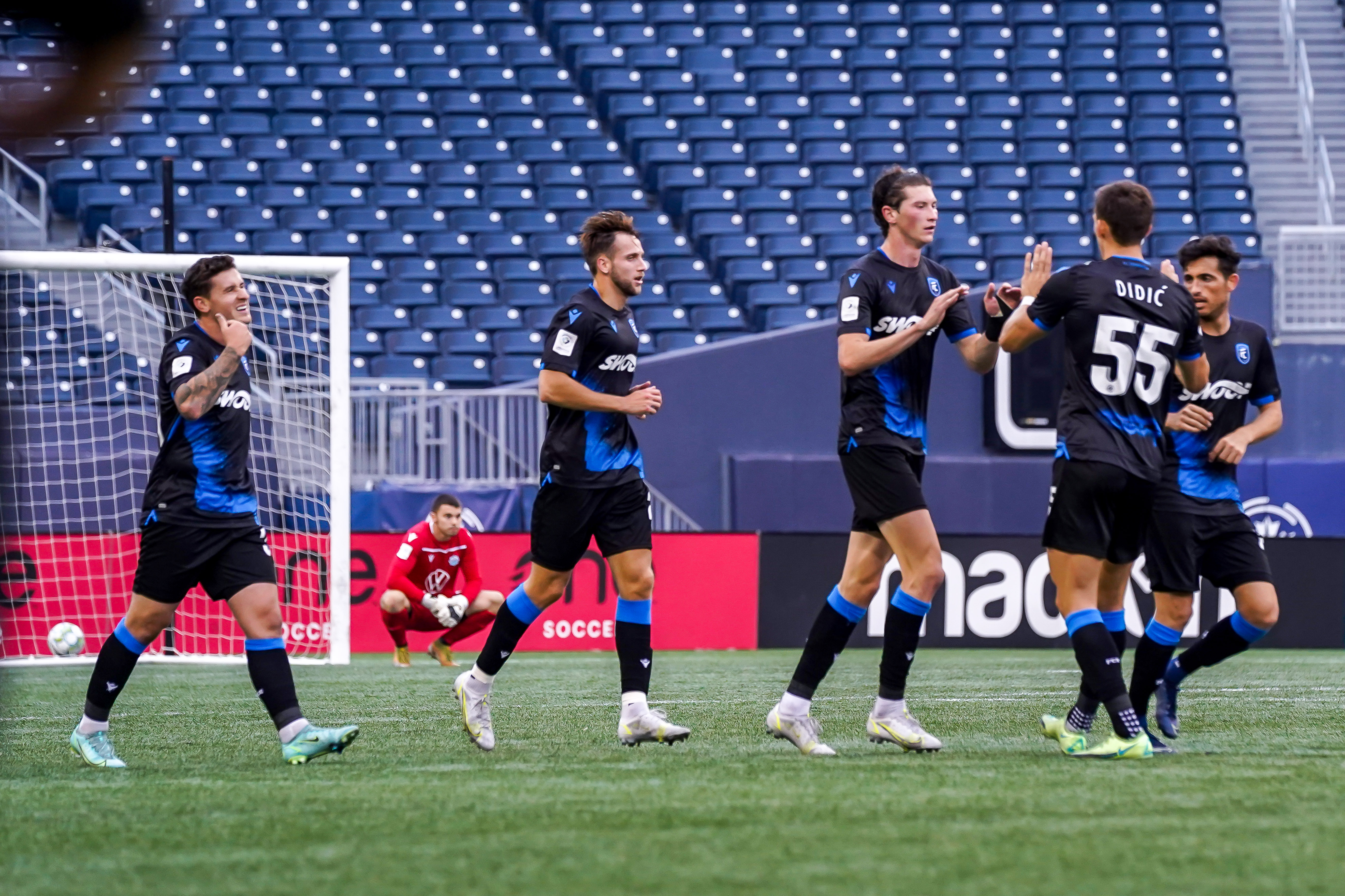July 21, 2021. FC Edmonton vs HFX Wanderers FC. Second-Half. FC Edmonton players celebrate a goal by Easton Ongaro during second-half action.