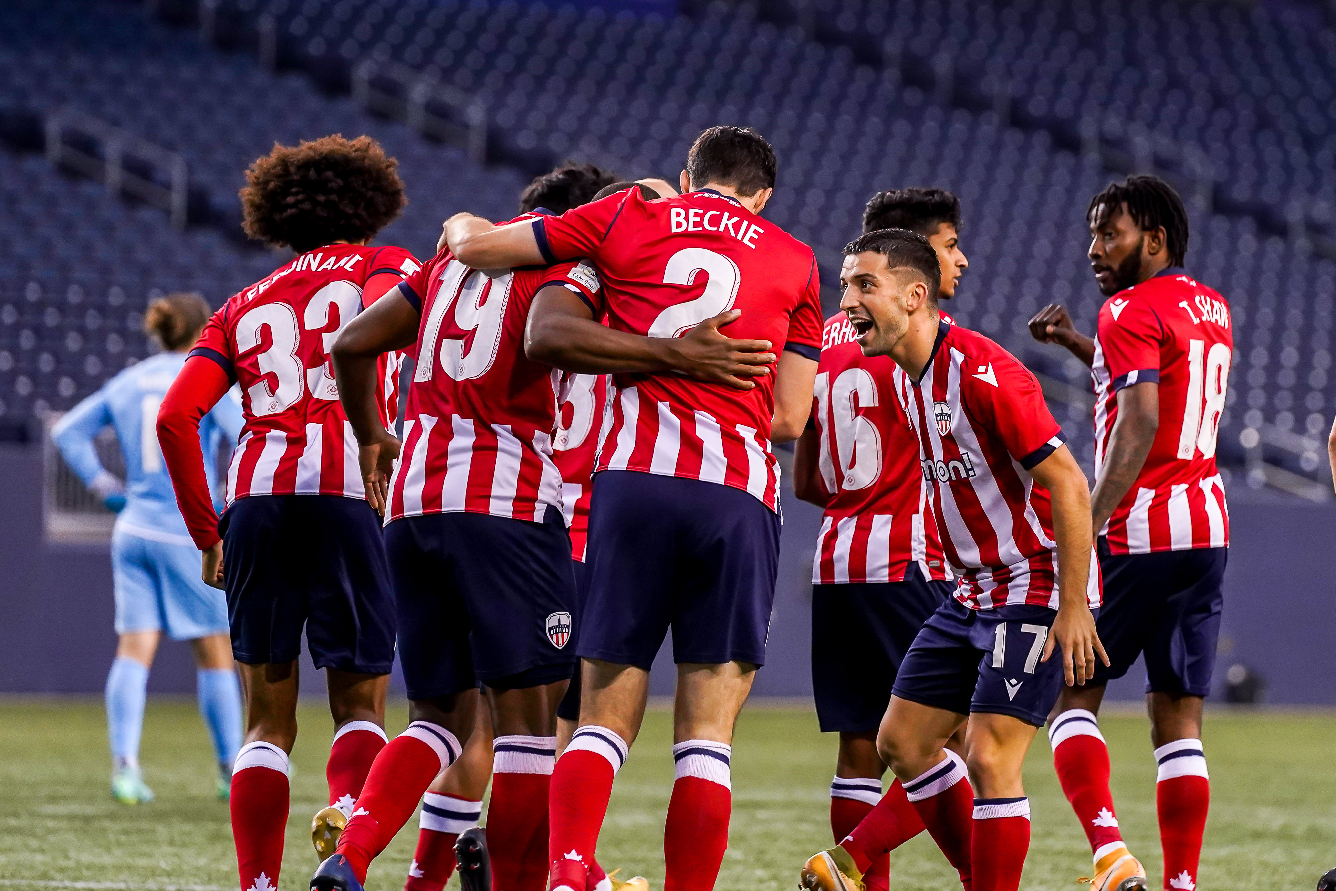 July 21, 2021. Pacific FC vs Atlético Ottawa. First-Half. Atlético Ottawa players celebrate following Malcolm Shaw's first-half goal against Pacific FC.