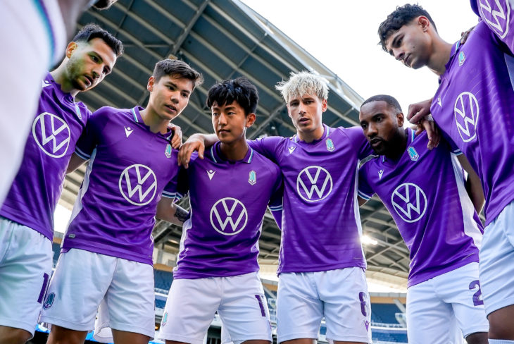 July 13, 2021. HFX Wanderers FC vs Pacific FC. Pre-Game. Pacific FC players huddle up before the kickoff.