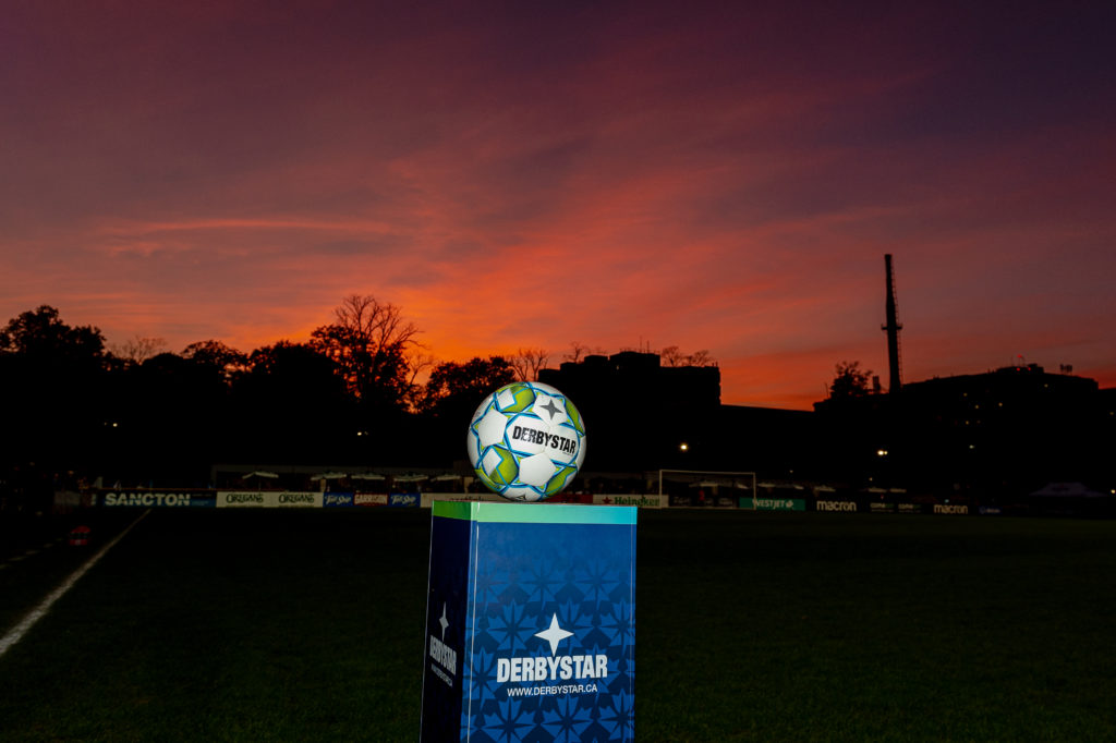 Halifax, Nova Scotia - Oct 06, 2021: The game ball for tonight's match between HFX Wanderers FC and Forge FC at the Wanderers Grounds in Halifax, Nova Scotia. (Trevor MacMillan/HFX Wanderers FC)
