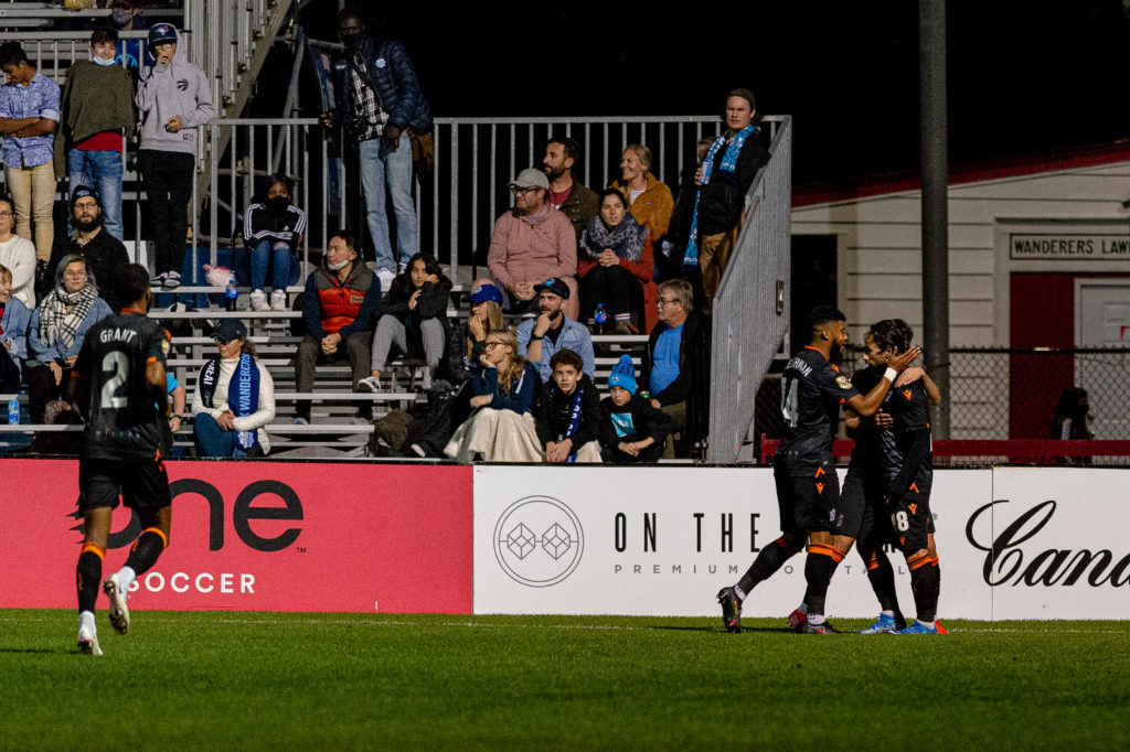 Halifax, Nova Scotia - Oct 06, 2021: Forge FC celebrate a game during the match between HFX Wanderers FC and Forge FC at the Wanderers Grounds in Halifax, Nova Scotia. (Trevor MacMillan/HFX Wanderers FC)