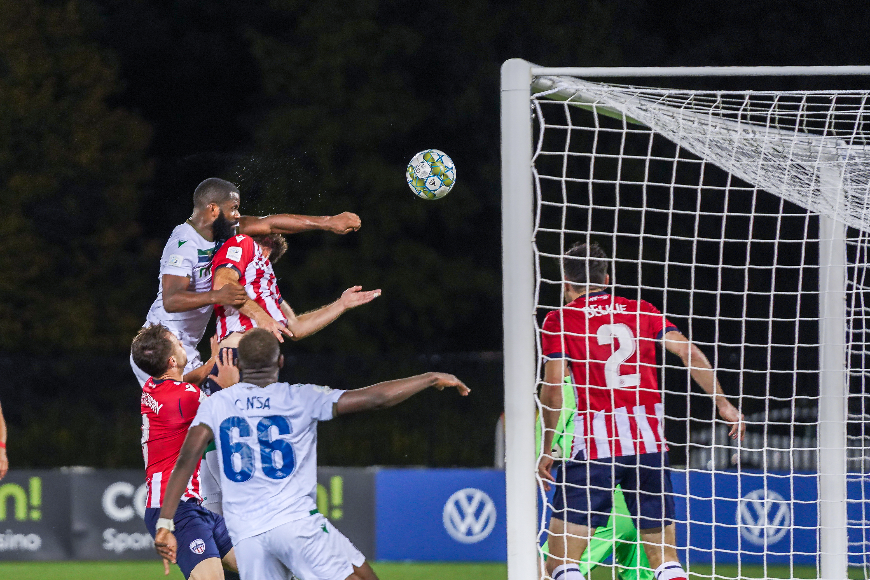 Jordan Wilson scores vs. Ottawa. (York United/CPL)