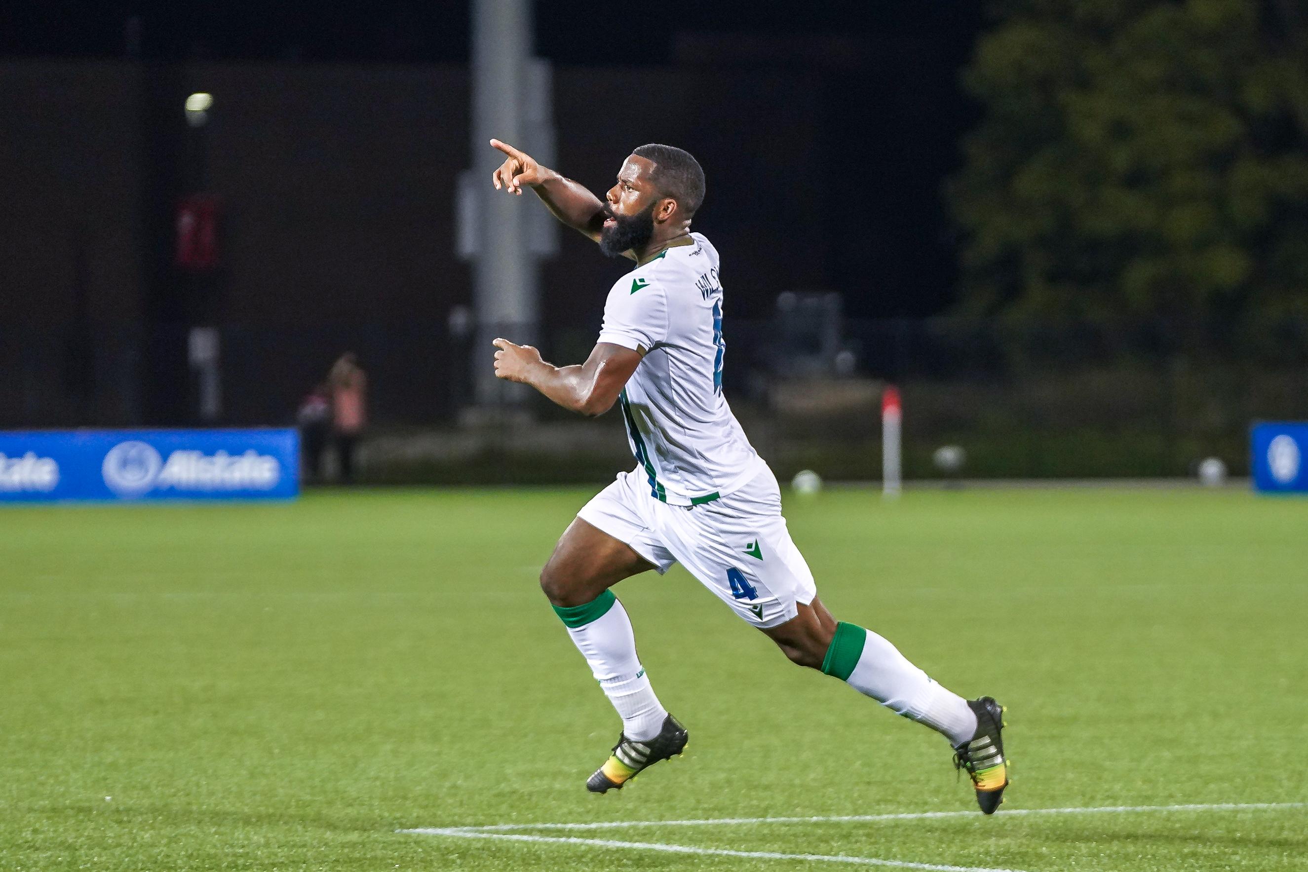 Jordan Wilson celebrates scoring the late equalizer. (York United/CPL)