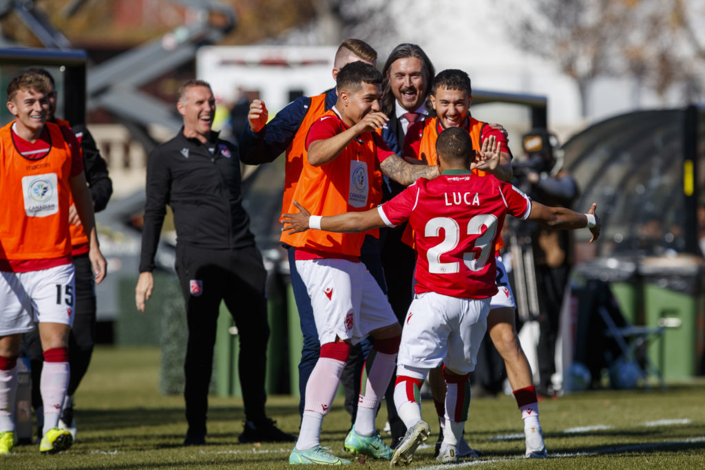 Cavalry FC celebrate Richard Luca's goal against FC Edmonton (CPL/Tony Lewis)