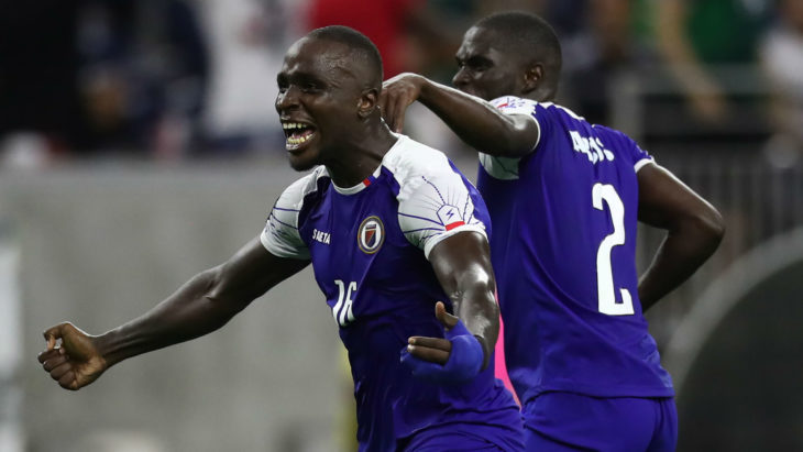 Andrew Jean-Baptiste celebrates after a goal for Haiti in the 2019 CONCACAF Gold Cup. (Unknown)