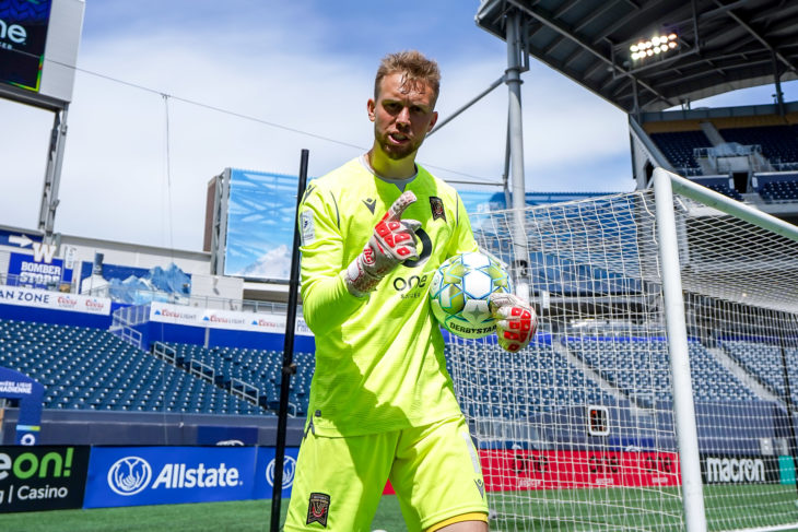 June 27, 2021. Forge FC vs. Valour. Second-Half. Goalkeeper Jonathan Sirois celebrates a 2-0 victory over Forge FC