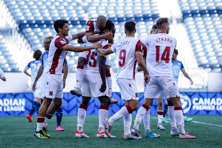 June 30, 2021. Valour FC vs. HFX Wanderers FC. First-Half. Valour FC players celebrate a first half goal by Andrew Jean-Baptiste