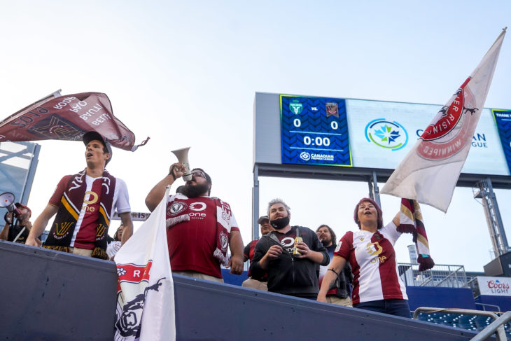 July 7, 2021. York United FC vs Valour FC. Pre-Game. Valour FC fans cheer and sing in the stands.
