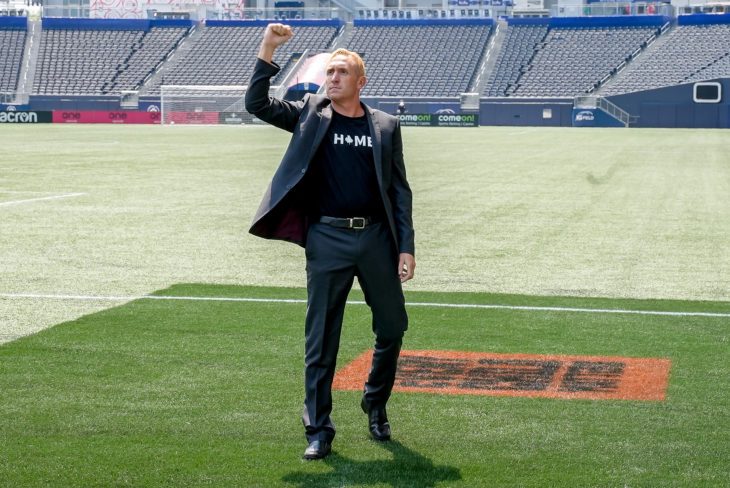 July 11, 2021. Valour FC vs Forge FC. Pre-Game. Valour FC Head Coach Rob Gale shows his appreciation to supporters.